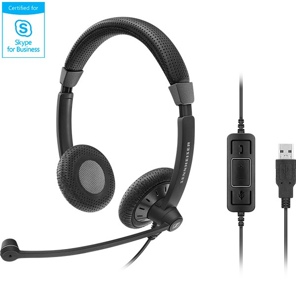 Sennheiser SC70 USB CTRL Corded Headset - Lync & Skype for Business