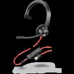 Plantronics/Poly Blackwire 3315-M UC, MONO USB-A, 3.5mm Corded Headset