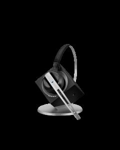 Image of EPOS|Sennheiser IMPACT DW Office ML Wireless Headset (DW10ML) sitting on the headset base.