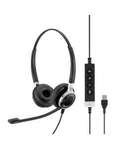 Image of EPOS|Sennheiser IMPACT SC 660 USB ANC Corded Headset showing the 3D side view angle of the headset with the call control buttons.