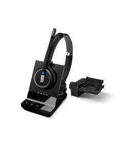 Image of EPOS|Sennheiser IMPACT SDW 5065 Duo Wireless Headset With HSL10 II Lifter showing the 3D side view of the headset and the lifter.