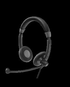 Image of EPOS | Sennheiser SC 75 USB MS Corded Headset facing left side showing the headset details.