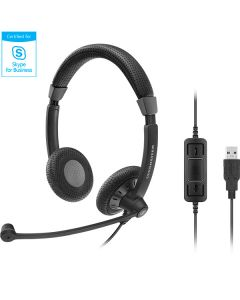 Image of EPOS | Sennheiser SC 70 USB MS Corded Headset facing front with call control buttons.